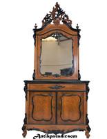 A242 Gyönyörű antik biedermeier tükrös szekrény
