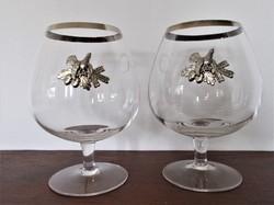 2 db. nagyméretű konyakos pohár vadászoknak