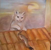 Macska háztetőn hallal