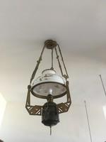 Majolika betétes, antik, réz lüszter lámpa eladó.