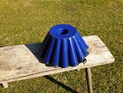 Antik zománcos sütőforma régi kék zománcozott kuglófsütő cukrász eszköz