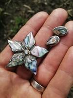 Szépséges kagylós ezüst bross, medál