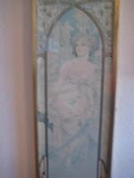 Mucha , szép nyomat a 70 es évekből  , szép keretben  , 33 x 87  cm