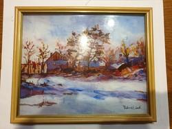 Hagyatékból eladó Katona Bálint 20x25-ös Téki táj című festménye.