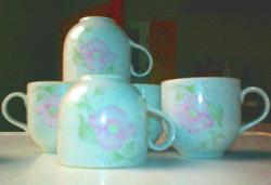Alföldi vadrózsás porcelán kávés csésze  készlet