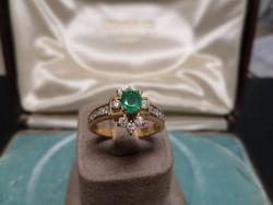 Smaragdos - brilles arany gyűrű