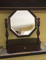 Régi rózsafa fiókos tükör, tükrös szekrény ékszertartó
