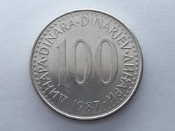 Jugoszlávia 100 Dínár 1987 - Jugoszláv 100 Dinara (dinarjev) 1987 külföldi pénz, érme