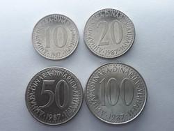 Jugoszlávia 10, 20, 50, 100 Dínár 1987 - Jugoszláv dinara (dinarjev) LOT külföldi pénz érme