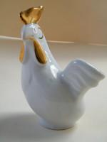 Hollóházi porcelán, arany taréjú kakas figura