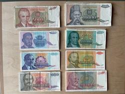 Jugoszláv dinár papírpénzek 1993, sorozat több példányban