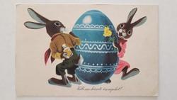 Régi húsvéti képeslap 1962 nyuszis locsolkodós rajzos levelezőlap