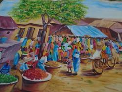Modernista Afrika művészkirálya Hatalmas festmény vászon 220 x 128 cm PIACI FERGETEG