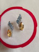 Valódi ragyogó arany citrin & zafír köves 925 fülbevaló