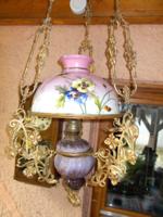 Petróleum lámpa, antik 1900-as évek,  Budapest Lámpagyár, majolika,  lüszterlámpa
