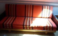Retro kanapé 1. (ülőgarnitúra, nappali bútor, 1960-1970-es évek; műbőr, szövet)