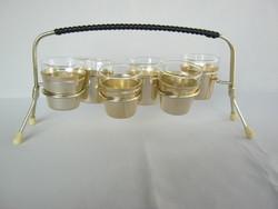 Retro 6 db-os pálinkás likőrös pohár készlet fém állványon