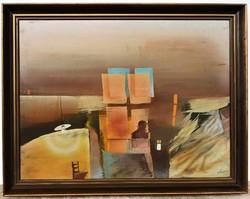 Szkok Iván (1944 - ) Hajnal c. Képcsarnokos festménye EREDETI GARANCIÁVAL !