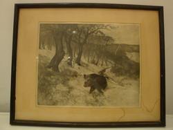 Olgyay Ferenc: Téli tájkép vaddisznóval (vadászat)