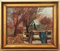 Túry Mária (1930 - 1992) Őszi táj c olajfestménye EREDETI GARANCIÁVAL !