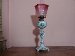 Kézzel festett eredeti Meisseni petróleum lámpa különlegesség