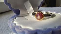 Csillag rubin 925 ezüst gyűrű 54