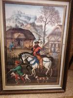 Három antik nyomat egyforma, minőségi fa keretben, hátul a festmény jeleneteinek leírásával.