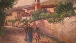 Giuseppe Riva - Olasz vidéki  táj , olaj