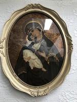 Álomszép üvegre festett ikon Mária Kis Jézussal