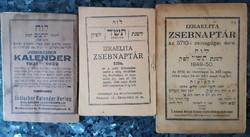 IZRAELITA ZSEBNAPTÁR  3 DB   -  JUDAIKA