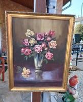 Gyönyörű rózsás  csendélet festmény  virág csokros  virágos, Nosztalgia darab paraszti dekoráció