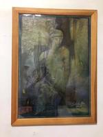 Sebestyén János (1957- )festőművész gyönyörű 'Misztikus Hölgy' festménye Vegyes technika kartonon