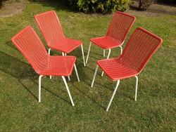 Régi retro csővázas fémvázas strandszék kerti szék garnitúra mid century strand bútor