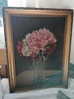 J Kugler szignóval olaj festmény, fára festve virág csendélet