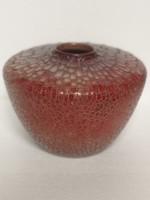 Art deco különleges forma Zsolnay repesztett váza ökörvér