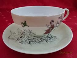 Japán porcelán, tojáshéj vékony, kézzel festett teáscsésze + alátét.