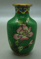 B406 Kínai zománcos váza , rekesz zománc cloisonné váza - meseszép gyűjtői darab!