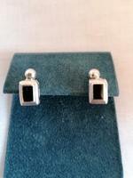 Egyedi ArtDeco jelzett ezüst fülbevaló, valódi onix kővel. Ritkaság, gyűjtők figyelmébe ajánlom