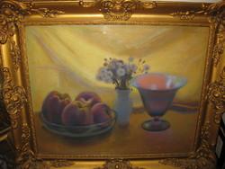 TUNYOGI SZŰCS SÁNDOR (1890 - 1974) Asztali csendélet almákkal virágokkal