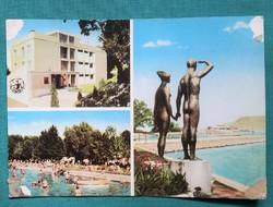 Balatoni képeslap - Balatonlelle strand,Ábrahám-hegy,üdülő,strand,móló 1975