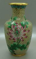 B399 Kínai zománcos váza , rekesz zománc cloisonné váza - meseszép gyűjtői darab!