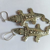 Aranyszemű szalamandra gyík ezüst Fülbevaló régi