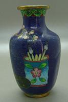 B405 Kínai zománcos váza , rekesz zománc cloisonné váza - meseszép gyűjtői darab!