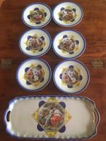 ALT WIEN-Victoria süteményes tányér 6db + a hozzá tartozó tálca-