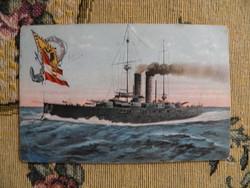 SMS Ferenc Ferdinánd hadihajó, katonai, I világháború, képeslap,