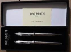 Elegáns, vadonatúj Balmain szett  golyóstoll és töltőtoll plusz betét, ezüst színben pompás ajándék