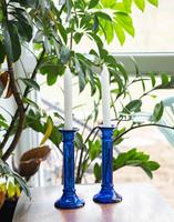 Retro kék üveg gyertyatartó pár - midcentury modern design