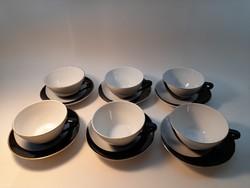 Hollóházi fekete-fehér (pingvin) kávés  csésze készlet 6 db