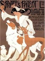Vintage kutyaeledel plakát reprint nyomat, kutya agár bernáthegyi fehér barna kakas keksz lány gazdi