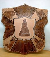 Az ősi, ókori építészet csodái. Pajzs alakú bőr táblakép.